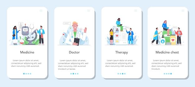 ヘルスケアコンセプトモバイルアプリケーションバナーセット。制服の専門医。現代医学の治療、専門知識、診断。治療と回復。 Premiumベクター