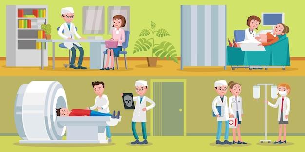 Горизонтальная иллюстрация здравоохранения Бесплатные векторы