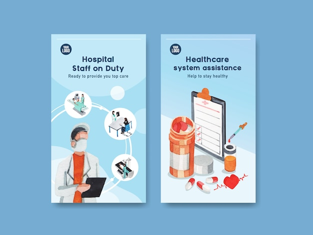 Healthcare instagram template design with medical equipment and medical staff and highly technological devices doctors and patients Free Vector