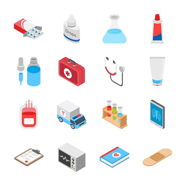 Здравоохранение изометрические иконы Premium векторы