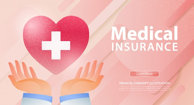 Healthcare and life insurance business landing page with doctor hands holding red heart with white cross. Premium Vector