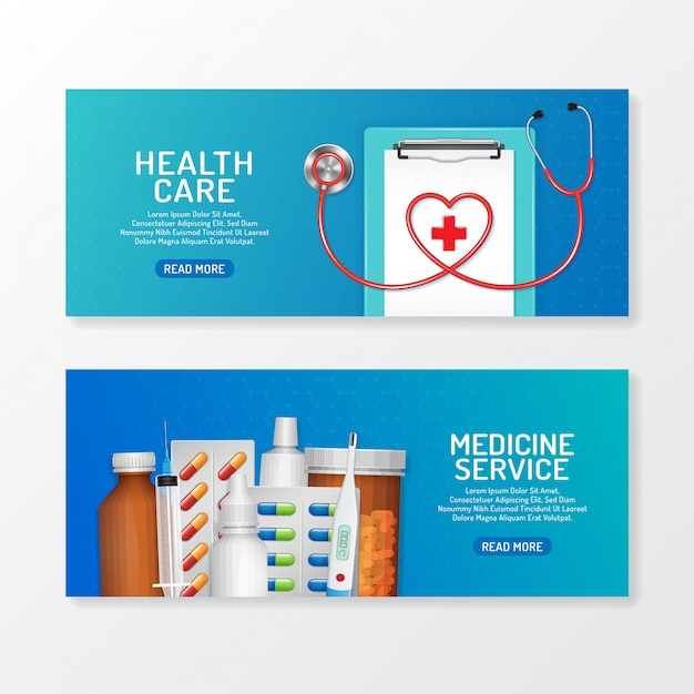 Healthcare And Medical Banner Set With Stethoscope And Bottles Set Medicine Premium Vector