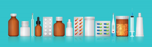 Healthcare and medical bottles set medicine and pills Premium Vector