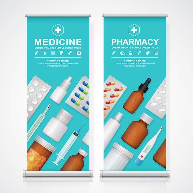 Healthcare and medical bottles set Premium Vector