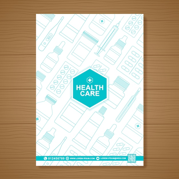 Healthcare and medical cover a4 flyer design template Premium Vector