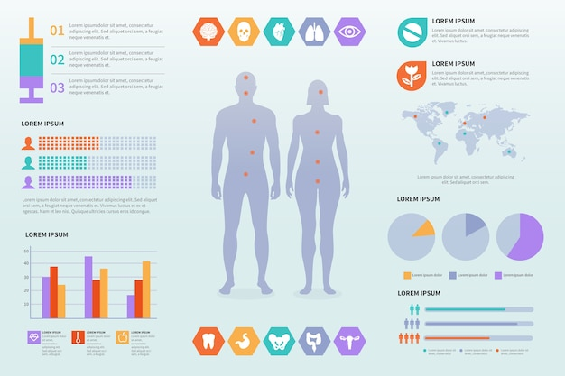 Healthcare medical infographic template Free Vector