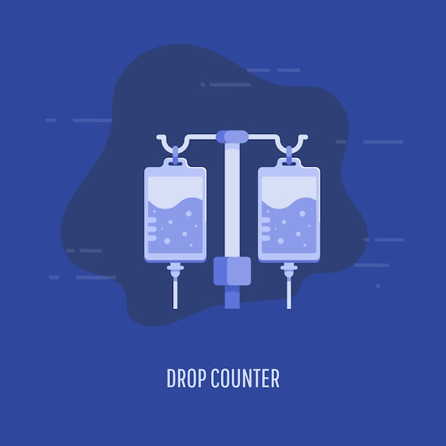 Healthcare, medical insurance and rehabilitation concept. medical drop counter in flat style. Premium Vector