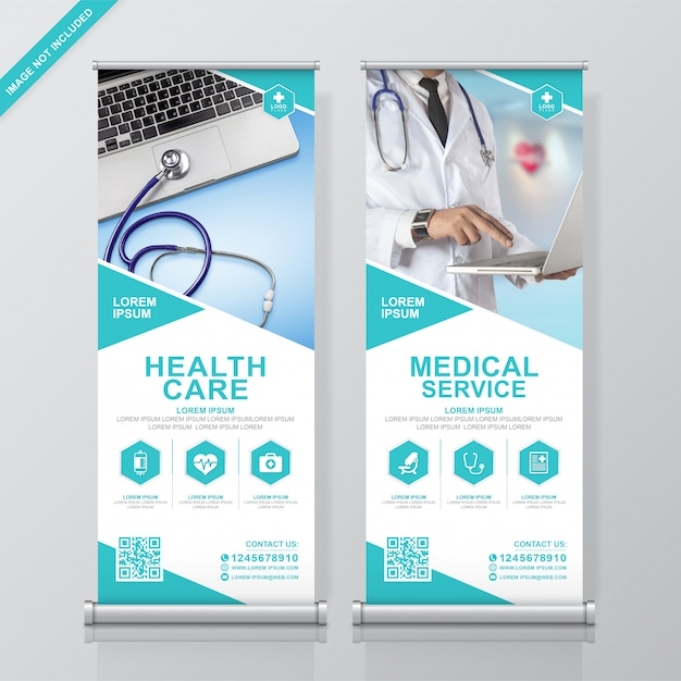 Healthcare and medical roll up and standee banner design template Premium Vector