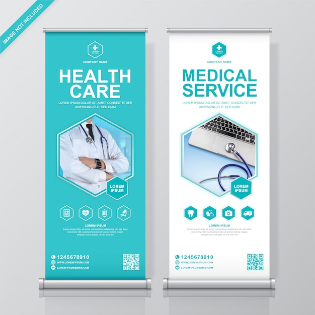Healthcare and medical roll up and standee Premium Vector