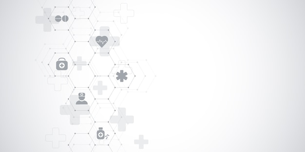 Healthcare medical and science background with icons and symbols. innovation technology . Premium Vector