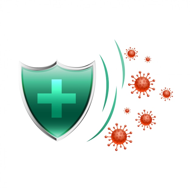 Healthcare medical shield protecting virus to enter Free Vector