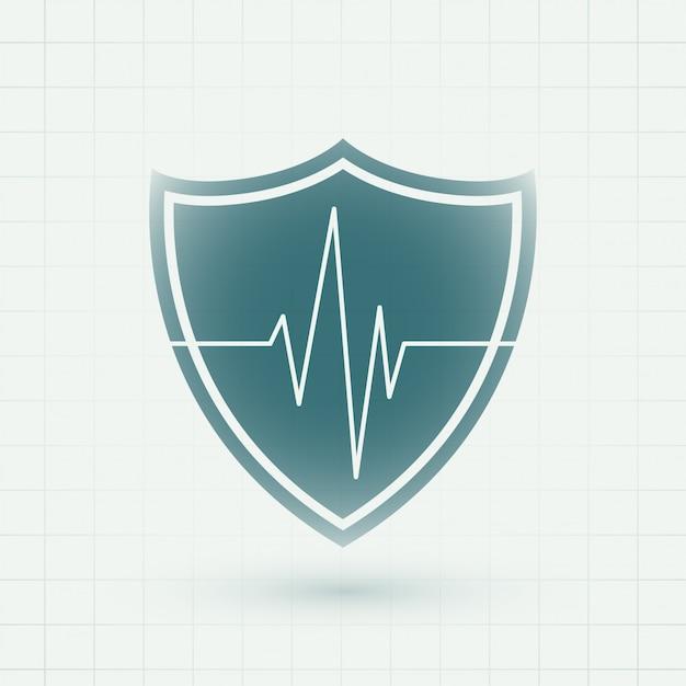 ハートビートラインシンボルと医療医療シールド 無料ベクター