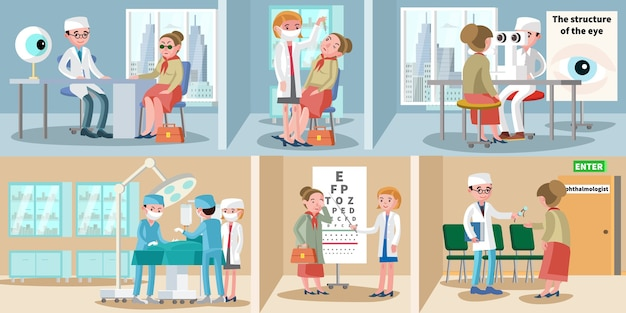 Healthcare ophthalmology horizontal banners Free Vector