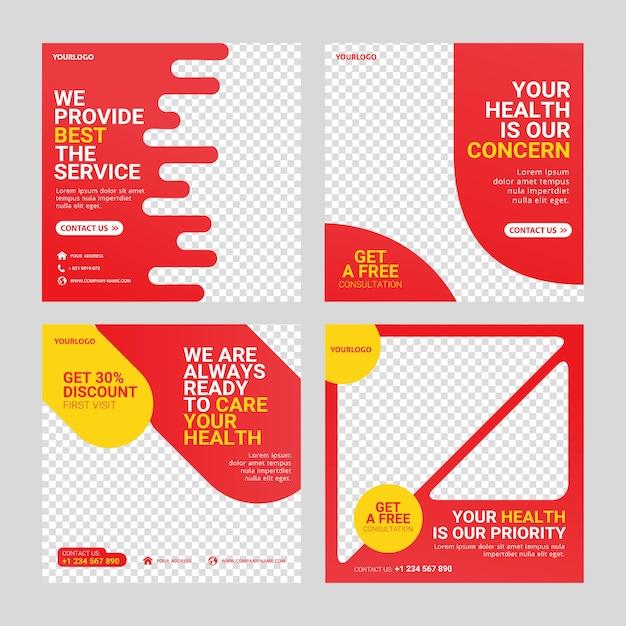 Healthcare post social media template Premium Vector