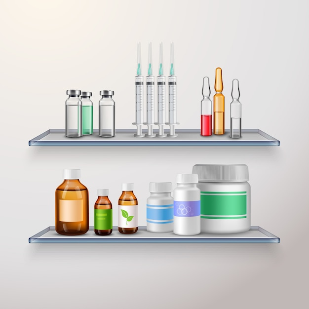 Healthcare product shelves composition Free Vector