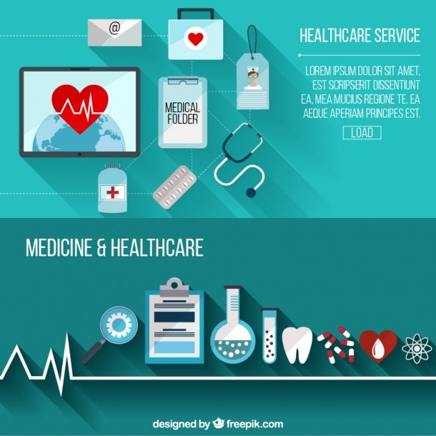 Healthcare Service With Flat Elements Banners Vector