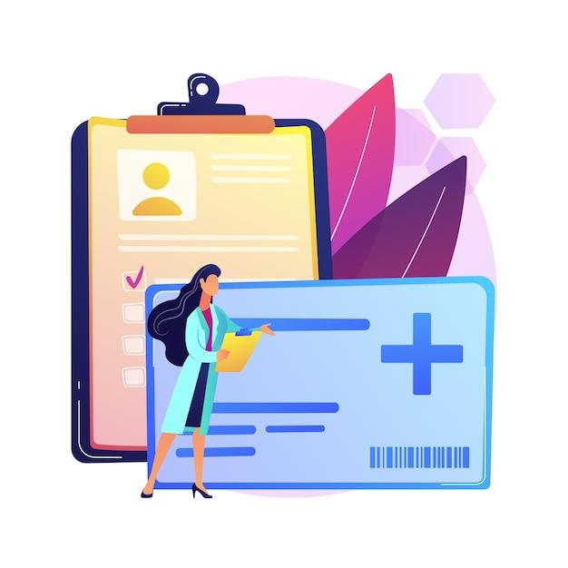 ヘルスケアスマートカードの抽象的な概念図。患者の身元を管理し、開業医と薬剤師を保護し、医療記録にアクセスし、コミュニケーションを改善します。 無料ベクター