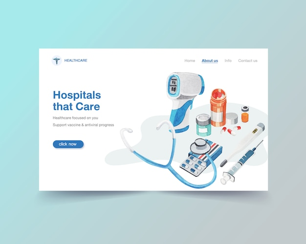 Healthcare website template design with medical equipment Free Vector