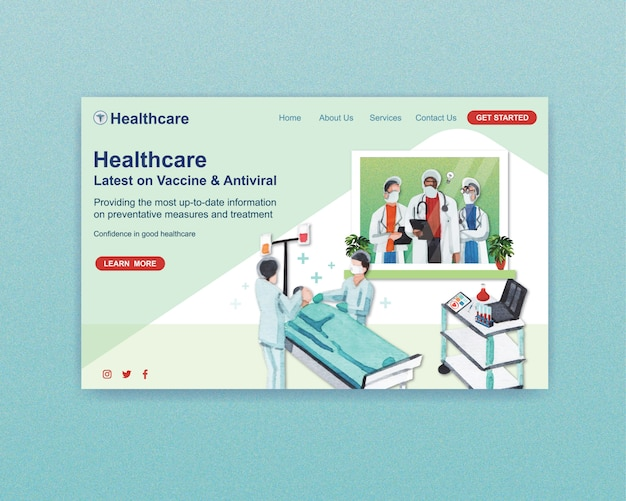 Healthcare website template design with medical staff and doctors and patients Free Vector