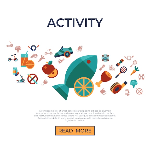 Healthy activity lifestyle icons set Premium Vector