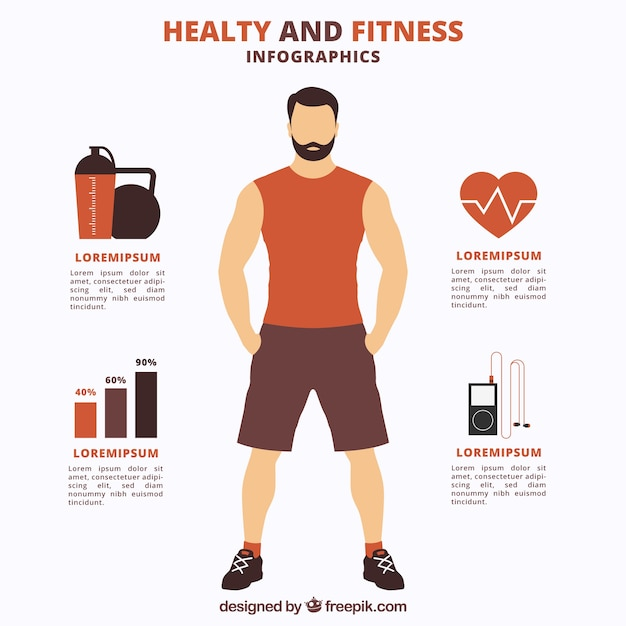 Healthy and fitness infography Free Vector