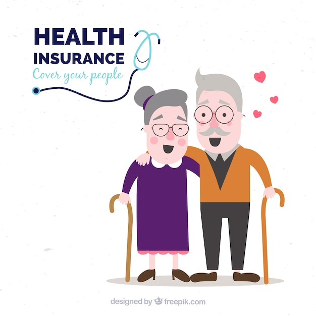 Healthy and happy old couple Free Vector