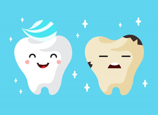 Healthy and unhealthy sad tooth cartoon\ characters.