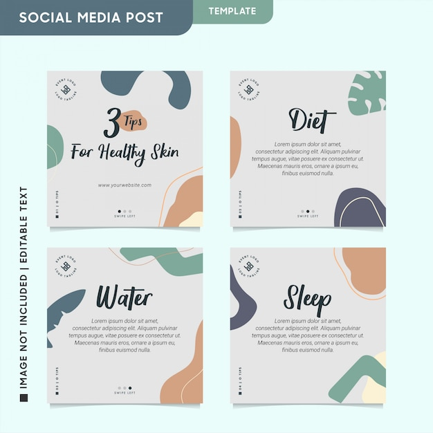 Healthy & beauty instagram post for social media engagement Premium Vector