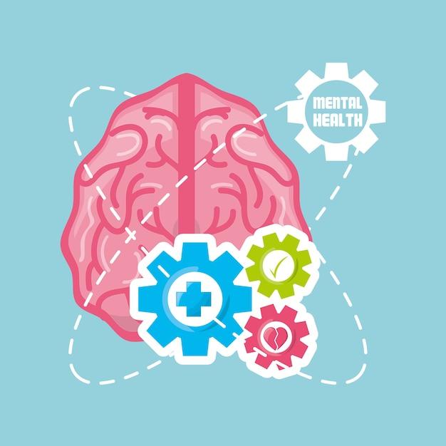 Healthy brain with gears process work Premium Vector