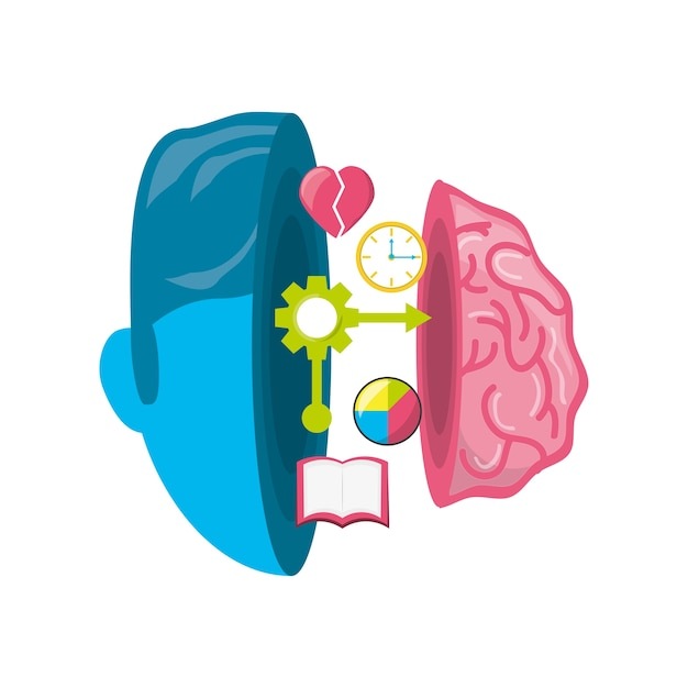 Healthy brain with gears process work Premium Vector