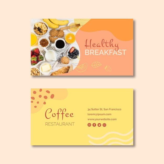 Healthy breakfast business card template Free Vector
