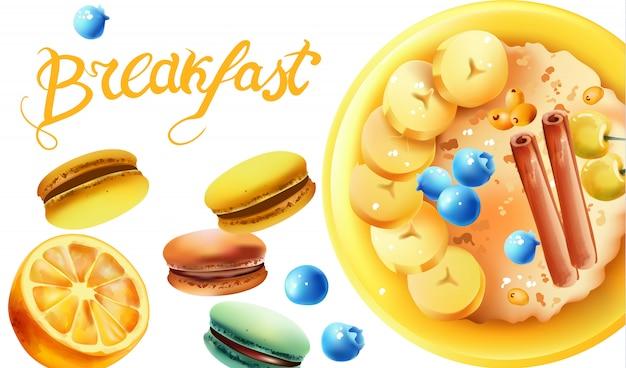 Композиция для здорового завтрака с миской овсянки, белой вишни, черники, банановых ломтиков, палочек корицы, макарон и лимона Бесплатные векторы