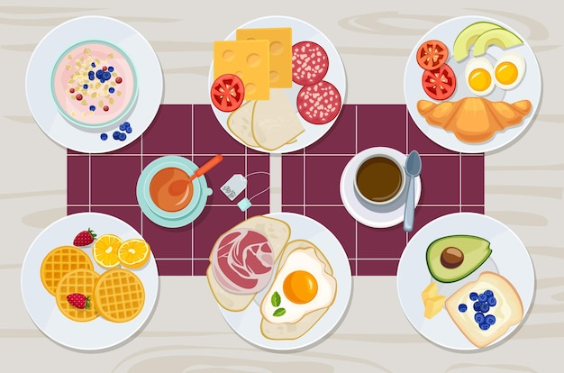 Healthy breakfast. food daily menu cheese biscuits milk juice eggs butter meal cartoon products collection. breakfast sandwich, cheese and butter, bread and meal illustration Premium Vector
