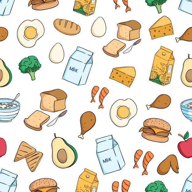 Healthy breakfast food seamless pattern with colored doodle style Premium Vector
