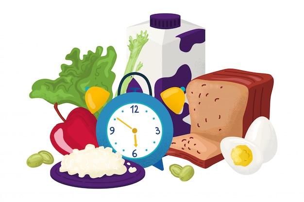 Здоровый завтрак для гурманов иллюстрации. свежие продукты для утреннего перекуса. вкусная еда, молоко, фрукты, хлеб на столе. органическое питание, полезный образ жизни. естественный деревенский вид. Premium векторы