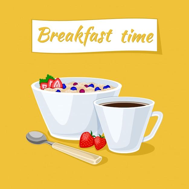 Здоровый завтрак иллюстрации. овсяная каша в миске с ягодами и клубникой Premium векторы