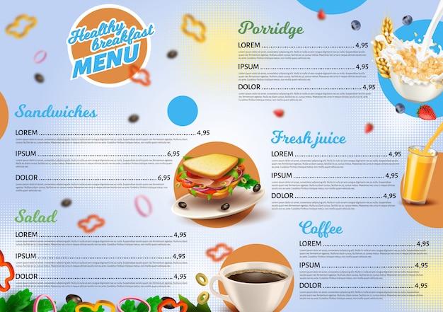 Healthy breakfast menu template for restaurant Premium Vector