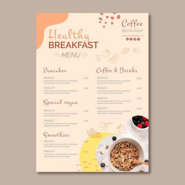 Шаблон меню здорового завтрака Бесплатные векторы