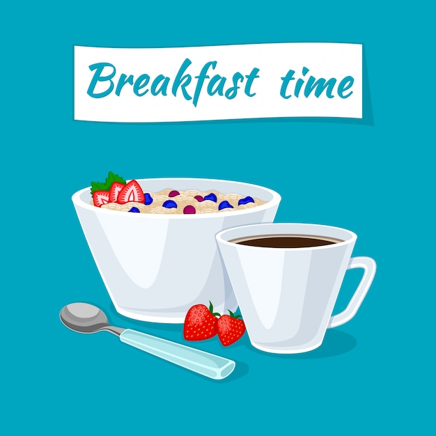 Healthy breakfast. oatmeal porridge in the bowl with berries and strawberries. Premium Vector