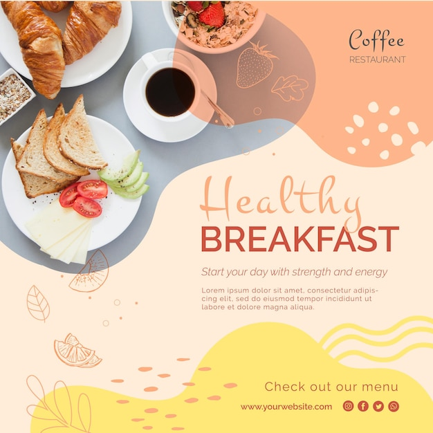 Healthy breakfast square flyer Free Vector