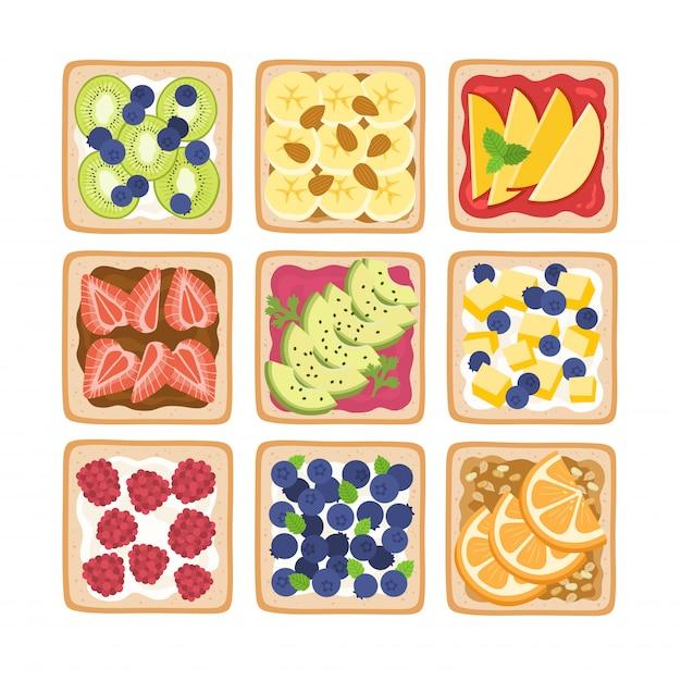 Здоровые тосты на завтрак. Premium векторы