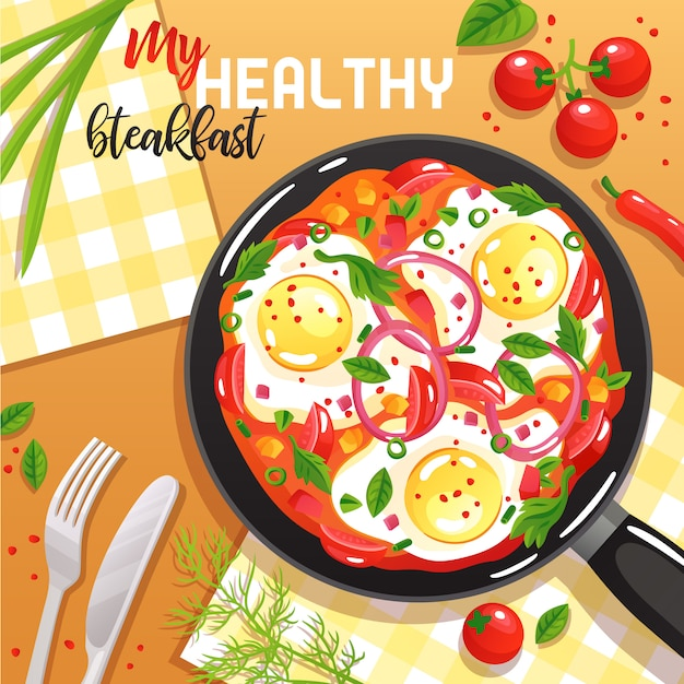 Healthy breakfast with eggs vegetables and greenery on frying pan at table top view flat illustration Free Vector
