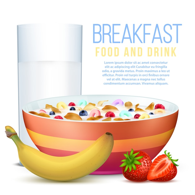 Healthy breakfast with fruits, bowl of flakes and glass of milk Premium Vector