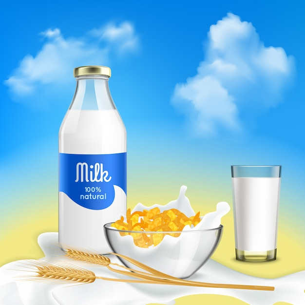 Healthy breakfast with natural milk and grain flakes Free Vector