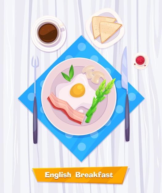 Healthy  breakfast with omelette, bacon, coffee and toast. view from above on stylish wooden table with copy space.  stock illustration. Premium Vector