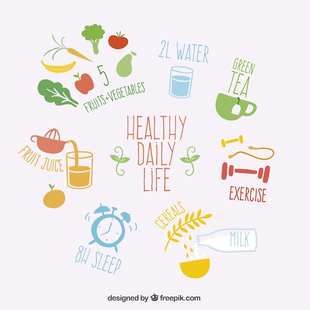 Healthy daily life Free Vector