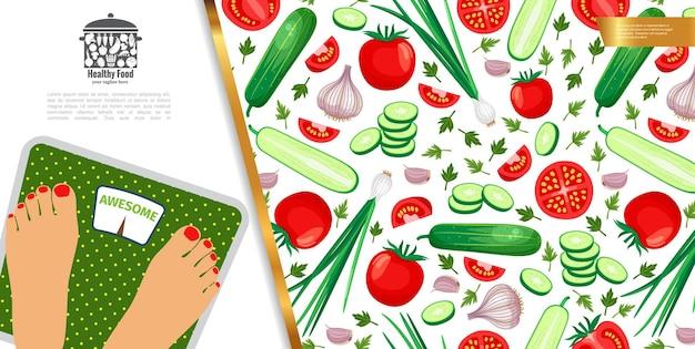 Здоровая диета красочная с женщиной, стоящей на весах и овощах в плоском стиле иллюстрации Бесплатные векторы