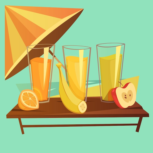 Healthy drinks cartoon concept Free Vector