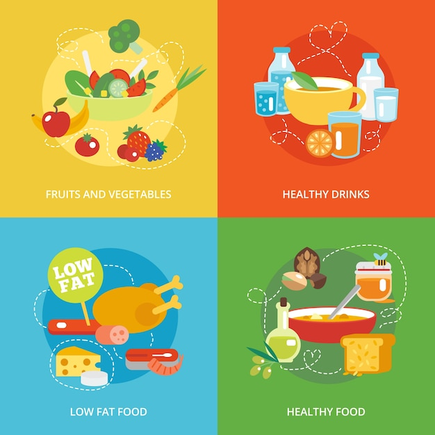 Healthy eating flat set Free Vector