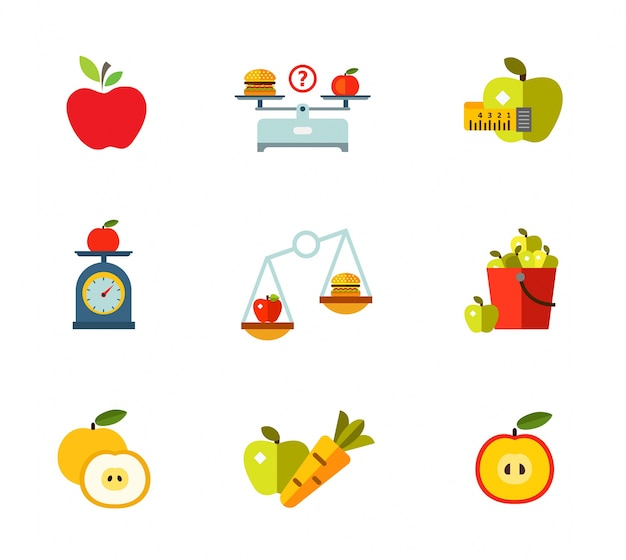 Healthy eating icon set Free Vector